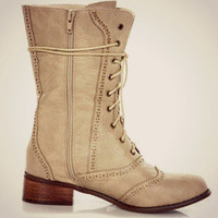 Beige Oxford Combat Boots Lace Up Military Fashion Trend Preppy New Mid Calf