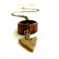 Brass Arrowhead Bone Hoop Brass Coin  Long Necklace  by balanced