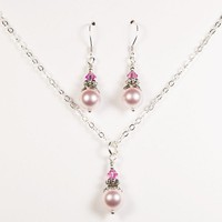 Pink Swarovski Bridesmaid Set, Necklace and Earrings in Sterling Silver - by craftimade on madeit