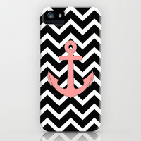 Salmon Anchor Black Chevron Pattern iPhone Case by Rex Lambo | Society6