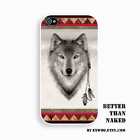 Aztec Indian Wolf - iPhone 4 Case, iPhone case, iPhone 4s Case, iPhone 4 Cover, Hard iPhone 4s Case