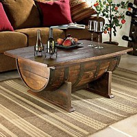 Amazon.com: Handmade Vintage Oak Whiskey Barrel Coffee Table: Furniture &amp; Decor