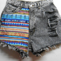 Vintage High Waist  Acid Washed  Denim Shorts Tribal Print  Waist  29    inches