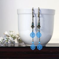 Brass Chain earrings with Turquoise Filigree Stampings