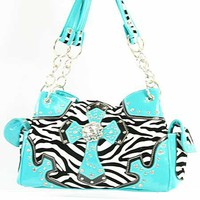 Blue Trim Zebra Cross Handbag
