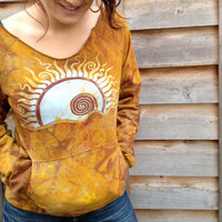 Batik Eclipse Swirling in Gold Long Sleeve Cozy Shirt
