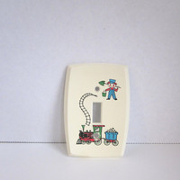 Vintage plastic Light Switch plate cover, Train, railroad, engineer, Home Decor Boys Room, Novelty