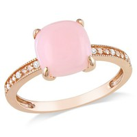 10k Rose Gold Pink Opal and Diamond Ring, (.03 cttw, G-H Color, I1-I2 Clarity), Size 7