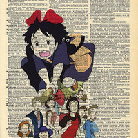 Kiki's Delivery Service Studio Ghibli Print on an Antique Upcycled Bookpage