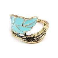 Unique & Elegant Fashion Jewelry - Vintage Copper Tone Enamel Leaf Ring