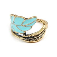 Unique &amp; Elegant Fashion Jewelry - Vintage Copper Tone Enamel Leaf Ring