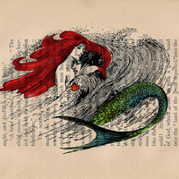 Ariel And Her Prince Vintage Fairy Tale Art Print on an Antique Upcycled Bookpage
