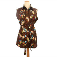Vintage 1970s Blouse Brown Floral Smock Top Belt NOS