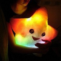 Smile Star Design Color Changing LED Light Toss Thrown Pillow White: Everything Else