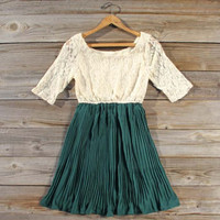 Lace &amp; Pine Dress in Emerald, Sweet Women&#x27;s Bohemian Clothing