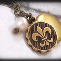 FLEUR DE LIS, tiny vintage brass locket necklace