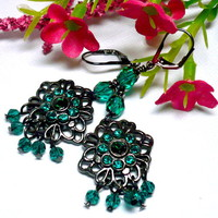 Elegant Gunmetal and Emerald Crystal Vintage Chandelier Earrings