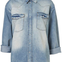 Wide Denim Shirt By Boutique - Tops  - Clothing