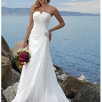 WD11244 strapless chiffon destination wedding dresses