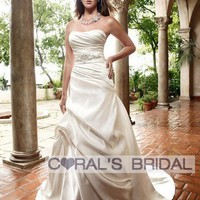 WD11146 Simple Soft sweetheart satin wedding gown- Coral's Bridal