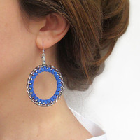 Royal Blue Earrings - Braided Hoop .. on Luulla