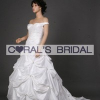 MGJ141C(f) taffeta buble skirt wedding dress - Coral's Bridal