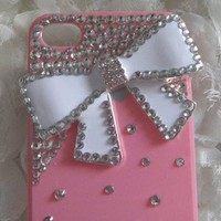 New Bling Sparkle White Bow White Rhinestones Pink iPhone 5 Case