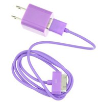 EarlyBirdSavings 3Ft 90cm USB Sync Data Cable + Wall AC Charger Purple for iPod iPhone 4 4S 3GS