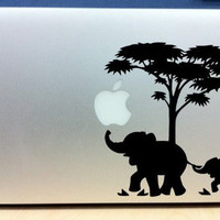 Elephants Mom & Baby  Mac sticker mac decal macbook sticker macbook decal Macbook pro