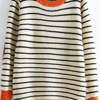 Patch Elbows Striped Sweater