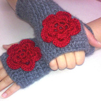 Grey and Red  Gloves, Fingerless gloves with red flower, hand crochet wool and acrilic