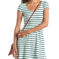 Striped Cap Sleeve Skater Dress: Charlotte Russe