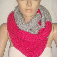 Knitted Loop Scarf, Hooded Cowl/Scarf/Neck Warmer (Light Gray, Phosphoric Pink) by Arzu&#x27;s Style