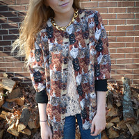 Vintage Cat Button Up Oversized Jacket