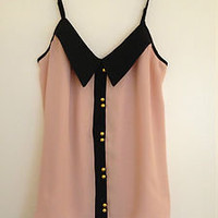NWT ASOS Pink & Black Button Cami Top Blouse w/Collar 6 S-M UK 10