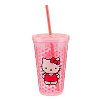 Vandor Hello Kitty 18-Ounce Acrylic Travel Cup with Lid and Straw, Pink
