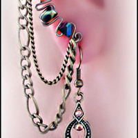 OOAK Chained Ear cuff/wrap set  with dangling earring by earlums