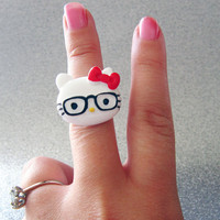 Hello Kitty Ring, hipster Kitty, geeky jewelry