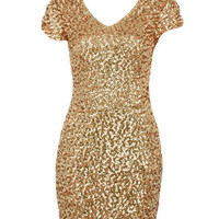 Gold Cap Sleeved Sequin Bodycon Dress - Clothing - desireclothing.co.uk