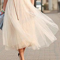 Modern Romantic Princess. Cream Mesh Tulle Full Skirt from Letsglamup