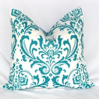 "Pillow True TURQUOISE Accent Pillow Cover ONE 24 inch Euro Sham Aqua & White Pillowcase 24"" DAMASK"