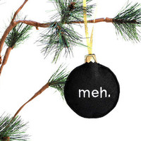 Christmas Ornament- Home Decor-meh embroidered recycled felt funny black decoration ornament