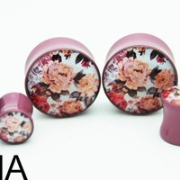 "BMA Modified - LA's Custom and Organic Plugs - Subdued Mauve Vintage Floral Plugs BMA 9/16"" inch 14mm"