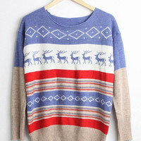 vintage deer xmas sweater-free shipping