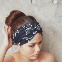 Forget me not, Turban Twist Headband - Blue vintage boho print