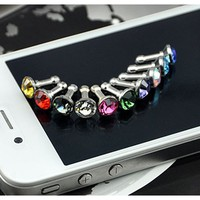 Diamond Anti Dust 3.5mm Earphone Jack Plug Stopper for iPhone 4 4S Galaxy (Random Color)