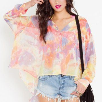Watercolor Cutout Blouse - NASTY GAL