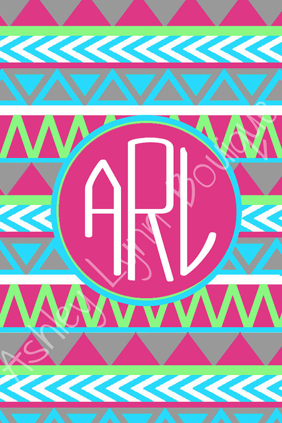 tribal iphone monogram wallpaper from nreese47 on etsy