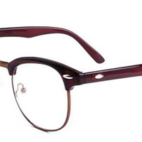 Sammy Eyeglasses with Brown Plastic Oval Full Frame/Rim Frame