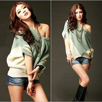 New Women Knitwear Fashion Batwing Sweater Casual Batty Tops Jumper Pullover S